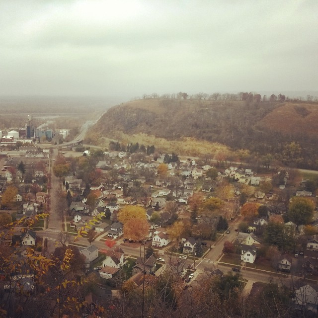 The town of Red Wing with Barn Bluff and the Mississippi in the background.